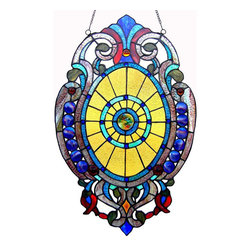None - Tiffany-style Victorian Design Oval Window Panel - This Tiffany-style Victorian design window panel will add color and beauty to any room. Crafted from over 265 hand cut pieces of art glass,this window panel features tones of blue,purple,green,gold and red.
