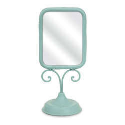 Simple Vanity Mirror - In the perfect shade of aqua, this metal mirror is sweet and simple—the perfect accessory for any vanity.