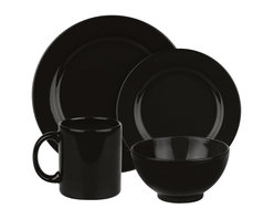 Waechtersbach - Fun Factory II Place Setting, Black, 16 Piece - With our well-known Fun Factory collection you get fun and joy into your home. We offer high-quality dishes for every occasion. Whether you prefer a quick breakfast or an extensive dinner; with our collection you can always find the right shape. Whether green or blue; black or white our wide range of colors offer something for everyone.