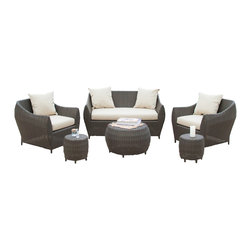 Great Deal Furniture - Adrian Outdoor 6pc Sofa Seating Set - There is nothing like enjoying the warm outdoors like having the comforts of the Adrian 6pc sofa seating set. Constructed from brown wicker, a durable material that is fitting for the outdoors, this set includes two (2) single club chairs, one (1) love seat and one (1) round coffee table and two (2) side barrel shaped tables. This piece includes matching plush cushions that provide a comfortable experience for your guests.