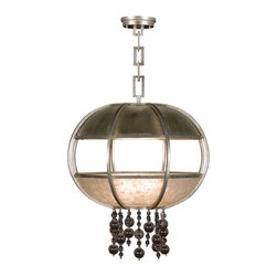 Fine Art Lamps - Singapore Moderne Silver Pendant, 600240-2ST - This steel pendant light has been treated to a bronze finish and fitted with panels of natural translucent mica and handblown cognac glass. Strands of matching glass balls dangle below, giving this contemporary design a touch of insouciant charm. Illuminated by eight bulbs, this fixture is also available in a silver finish.