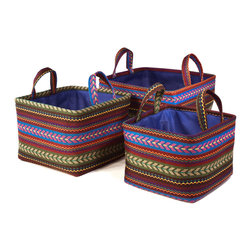 "Traders and Company - Colorful Nested Square Fabric Baskets, Set of 3 - Lg = 12.5""x12.5""x9""H - Tundra - Wake up any room with our colorful nested fabric hampers and baskets. Studry metal frame maintains the opening shape, and bright geometric patterns add a flash of color. Great for everyday storage around the home or in the kids room. Other patterns and shapes sold separately. Dimensions: L - 12.5""L x 12.5""W x 9""H, M - 11""L x 11""W x 8""H, S - 9.5""L x 9.5W x 7.25""H"