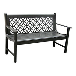 Innova Hearth & Home - Antique Black Metro Bench - Spruce up your patio or yard with this regal bench that features a rust-free cast aluminum frame, an eye-catching pattern and a serene profile.   Weight capacity: 500 lbs. 51'' W x 33'' H x 24.25'' D Seat: 16'' H Aluminum / steel Assembly required Imported