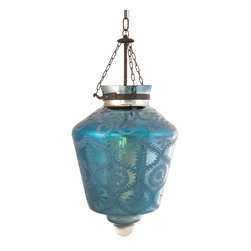 "iMax - iMax Indigo Etched Glass Pendant Light X-51126 - Etched blue mercury glass and iron chain add a strikingly beautiful appearance to the Cadel pendant light. This hard wired pendant light comes complete with a ceiling cap, cord length of 58.5"" and holds 60 Watt Type B or 13 Watt CFL bulb."