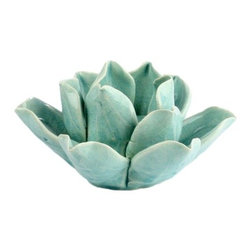 Teal Lotus Tea Light Holder - This versatile tea light holder fits any décor. It is festive and sophisticated in any setting. Use for outdoors or in!