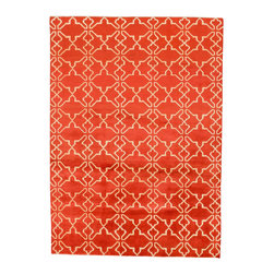 Rug Knots - Hand Made Modern Fashionable Vogue Wool Area Rug Orange and Cream 5.04x7.5 - Vogue rugs are known for their modern, fashionable designs and bold colors.  Hand Knotted 100% wool Made in Pakistan