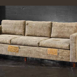 Devon Sofa - Fabrics are truck tarps and old Army tents. This salvaged cotton is boiled, treated, and dyed into a soft, almost suede-like finish. Patches are all authentic and original. Woods are hand-crafted from exotic demolition hardwoods such as salvaged wood from downed telephone poles and 1,000-year-old reclaimed wood.