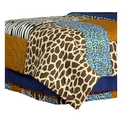 "Jazzie Jungle Boy - Twin Bed Skirt - Bring out the animal in you with ""One Grace Place"" Jazzie Jungle Boy collection. Bed skirt is designed with navy cotton fabric and trimmed in all the ""animal"" prints available in this collection.  You can't go wrong with anything this collection has to offer!"