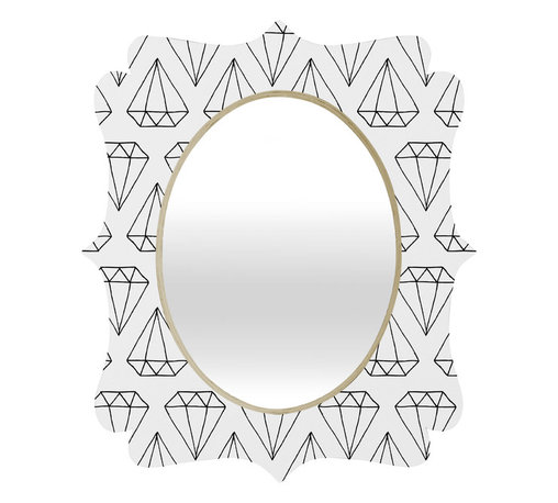 DENY Designs - Wesley Bird Diamond Print 2 Quatrefoil Mirror - Mirror, mirror on the wall. Who's the fairest one of all? We'll that's easy, the quatrefoil mirror collection, of course! With a sleek mix of baltic birch ply trim that's unique to each piece and a glossy aluminum frame, the rectangular mirror makes you feel oh so pretty every time you catch a glimpse. Custom made in the USA for every order.