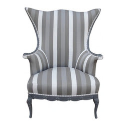 """ecofirstart - Alice in Wonderland Elegant Armchair - United States 1900's There is a pair we are calling the """"King and Queen chairs"""" which feature the same elegant striped canvas fabric in grey tones. Lacquered grey and finished with chrome nail heads all around. Work great as host and hostess chairs or for a library."""