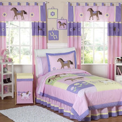 Sweet Jojo Designs - Sweet Jojo Designs Girls 'Pretty Pony' 4-piece Twin Comforter Set - Delight the horse lover in your life with this feminine 'Pretty Pony' bedding set from Sweet Jojo. With soft,beautiful colors and adorable horses,this set is the perfect way for your little cowgirl to have the room she's always wanted.