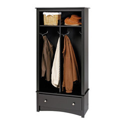Prepac Furniture - Prepac Hall Tree Organizer in Black - The Hall Tree Organizer in Black by Prepac Furniture is the perfect solution in any foyer, bedroom or mudroom where that is a need for storage. It features stylish decorative touches like a profiled top, an arched apron and brushed metal hardware.