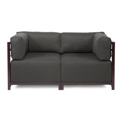 Howard Elliott - Sterling Charcoal Axis 2-piece Sectional - Mahogany Frame - A Fashionable Pair! Lounge in style on a Sterling Axis Loveseat. Float the Sterling Axis Loveseat in your room for an intimate seating arrangement. Expand your loveseat with additional Chair, Corner or Ottoman Pieces. This Loveseat features boxed cushions with Velcro attachments to keep the cushions from slipping and looking their best all of the time. Your Sterling Axis 2 pieces Sectional will definitely turn heads with its sophisticated linen-like texture and vibrant color selection. This Sterling Charcoal piece is 100% Polyester finished in a soft burlap texture in a charcoal grey color. 65 in. W x 32.5 in. D x 30 in. H