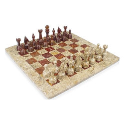 """The Chess Store - 12"""" Classic Fossil Marble Stone & Red Onyx Marble Onyx Marble Chess Set - This classic chess set design has long been a standard for marble, onyx, and stone chess sets and continues to be popular today. The chess pieces have an attractive rustic Staunton look with slightly exaggerated features that facilitate carving solid stone. The coral stone and the red marble is a wonderful combination as it creates a sharp contrast of materials and color. The Red marble is primarily Red but often has brown that creates unique and colorful patterns. We cover the bottom of the chess board with felt to protect your furniture. This chess set is exclusively available through Marble 'n Things. Fossil Marble & Red Onyx Chess Set. Board Size 12"""" x 12"""", King Size 3"""" High. Makes a Stunning Holiday, Birthday, Wedding Gift."""