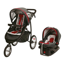 Graco - Graco Fast Action Jogger Travel System - Chili Red Multicolor - 1852639 - Shop for Travel Gear from Hayneedle.com! Get back on the trail quickly with the Graco Fast Action Jogger Travel System - Chili Red. Designed to accept all Graco Click Connect infant car seat with a secure one-step attachment this travel system includes a SnugRide Click Connect infant car seat and base.. Air-filled rubber tires gives your baby a smooth ride while the lockable front wheel provides added stability while jogging or simply unlock the front wheel for greater maneuverability when out and about on a daily stroll. Your baby will be able to sit up and enjoy the ride or recline comfortably in the multi-position reclining seat. You'll love the deluxe parent's tray which features a unique smartphone cradle for your phone or MP3 player two deep cup holders as well as a covered storage compartment. An extra-large storage basket also provides you with plenty of room to bring along any essentials. An extra-large canopy with peek-a-boo window helps to keep your baby shielded from the sun while you're still able to see him. Your child's tray has a cup holder and pivots or removes completely for no-fuss stroller entry. This stroller also has reflectors for added low-light visibility. The convertible three or five-point harness is designed to grow with your child so you can spend years enjoying being out and jogging together. Additional Features Air-filled rubber tires for suspension Locking front swivel wheel Easily transitions from daily strolling to jogging Multi-position reclining seat for baby's comfort Deluxe parent's tray with plenty of features Unique smartphone cradle for phone or MP3 player 2 deep cup holders and covered storage compartment Extra-large expandable canopy with peek-a-boo window Extra-large storage basket holds all of your essentials Reflectors for added low-light visibility Child's tray with cup holder pivots for easy entry Convertible 3 or 5-point harness grows with your child Clean frame by simply wiping down About GracoWhen Russell Gray and Robert Cone joined forces in 1942 baby products were not their focus. The pair originally formed Graco Metal Products in Philadelphia Penn. The firm created machine and car parts for local manufacturers for 11 years. Gray left in 1953 leaving Cone as sole owner and Cone got the idea to manufacture baby products from a Graco employee David Saint father of 9. Inspired by the idea of Mrs. Saint soothing her babies on the backyard glider the Graco Swyngomatic was born. The Swyngomatic sold millions catapulting Graco to become a leader in manufacturing juvenile products in the process. Since then Graco has set the industry standard with products like the Pack N' Play and the Travel System. Graco is one of the world's best known and most trusted juvenile products companies. Product safety quality reliability and convenience are their main sources of pride and are recognized by parents and parenting authorities alike.