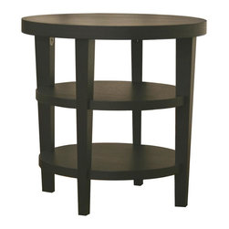 Wholesale Interiors - Charleston Modern Wood End Table in Black Fin - Contemporary side table. MDF wood. Assembly required. 23.75 in. W x 23.75 in. D x 23.75 in. HAdd this simple, contemporary side table to your living room or office for an easy, stylish way to complete any seating area. Constructed with MDF wood with a black oak veneer, each Charleston Table is sturdy and features two lower shelves for maximum storage. This design is also available as a coffee table and sofa or console table.