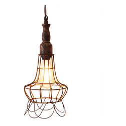 "Wire Cage Pendant Lights - Style ""F"" - These hanging pendant lights add a beautiful rustic feel. May be used as a swag light or hard wired to a ceiling fixture with an optional plate cover. Stagger multiple lights for an interesting look. Shipped with bare wire ends."