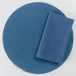 """Origin Crafts - Blue hemstitch napkins set of 4 - Blue Hemstitch Napkins Set of 4 Napkins & Placemats sold separately. Sets of four. 100% cotton. Machine wash cold separately; tumble dry low. Dimensions: Napkins - 20"""" x 20"""" By Tag Ltd. - Tag Ltd. is a supplier of decorative accessories. Ships out in 2-3 Business Days."""