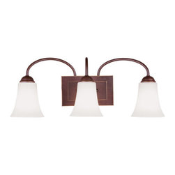 Livex Lighting - Livex Lighting 6483 Ridgedale Bathroom Vanity Bar - Livex Lighting 6483 Ridgedale Three Light Bathroom FixtureGraceful like a flower, the Ridgedale three light wall sconce features swan neck stems ending in a hand blown glass flared shades. This light will enhance the look of any hallway or room in your home.Livex Lighting 6483 Features: