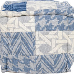 Home Decorators Collection - Pattern Pouf - With its patchwork design of basket weave, houndstooth and chevron patterns, our Pattern Pouf makes the perfect accent piece. Its cool Mediterranean blue color scheme makes this pouf ideal for cozy, transitional decorating concepts. Handmade of wool and cotton. Traditional patterns in a homey palette.
