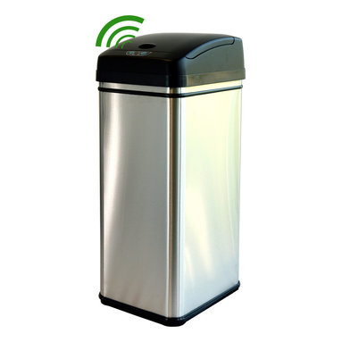 iTouchless - iTouchless Deodorizer 13 Gallon Stainless Steel Automatic Touchless Trash Can - Smelly and over-filled garbage doesn't stand a chance with the upgraded 13 gallon touchless trash can. Its extra wide opening (11.75 diagonal) allows disposal of larger debris and comes equipped with the most advanced infrared sensor technology on the market; opening the lid automatically when you approach within 6 inches, and closing it when you walk away.