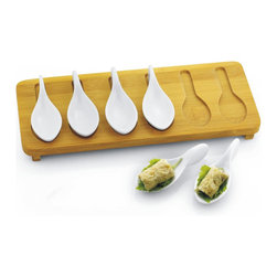 None - 7-piece Porcelain Tasting Spoons with Bamboo Tray Set - Set of 6 porcelain tasting spoons on bamboo tray is the ideal presentation for your hors doeuvre party. Serve your bite size appetizers in this easy to grab presentation. Packed in color gift box. Porcelain spoons are dishwasher and microwave safe.