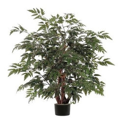 Vickerman 4 ft. Ming Aralia Silk Bush - Delicate leaves and a full shape make this Vickerman 4 ft. Ming Aralia Silk Bush perfect for decorating your home or office. This silk bush comes planted in a black plastic pot with natural wood trunks. Its lush and feathery leaves are made of silk so they look and feel authentic. Designed for indoor use. About VickermanThis product is proudly made by Vickerman, a leader in high quality holiday decor. Founded in 1940, the Vickerman Company has established itself as an innovative company dedicated to exceeding the expectations of their customers. With a wide variety of remarkably realistic looking foliage, greenery and beautiful trees, Vickerman is a name you can trust for helping you create beloved holiday memories year after year.