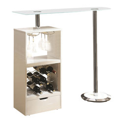 Adarn Inc - Modern Glass Top Metal Stemware Storage Wine Rack Unit Bar Table, White - Add this versatile and modern piece to any entertaining space. This contemporary bar table features a wine rack that stores up to 12 bottles of wine plus stemware storage. The modern design includes a sturdy tempered black glass table top. It is finished in black high gloss with a chrome base.
