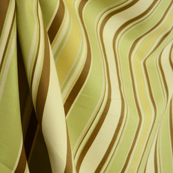 Tommy Stripe Green Cream Brown Tommy Bahama Drapery Fabric By The Yard - With a Tommy Bahama feel, Tommy Stripe Green is a multiple width stripe in apple green, brown and beige.  Use this fabric for window treatments, bedding, pillows and lightweight upholstery projects.