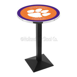Holland Bar Stool - Holland Bar Stool L217 - Black Wrinkle Clemson Pub Table - L217 - Black Wrinkle Clemson Pub Table belongs to College Collection by Holland Bar Stool Made for the ultimate sports fan, impress your buddies with this knockout from Holland Bar Stool. This L217 Clemson table with square base provides a commercial quality piece to for your Man Cave. You can't find a higher quality logo table on the market. The plating grade steel used to build the frame ensures it will withstand the abuse of the rowdiest of friends for years to come. The structure is powder-coated black wrinkle to ensure a rich, sleek, long lasting finish. If you're finishing your bar or game room, do it right with a table from Holland Bar Stool. Pub Table (1)