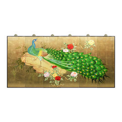 "China Furniture and Arts - Gold Leaf Hand Painted Peacock Wall Plaque - In Chinese culture, the peacock symbolizes dignity and beauty. Painted on wooden panels and set against a lustrous gold-leaf background, the hand-painted peacock and floral imagery pronounce these virtues. Contains 6 panels with a width of 12""each. Brass hangers included for your convenience."