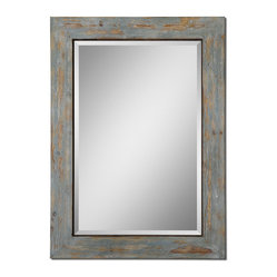 "Uttermost - Altino Distressed Wood Mirror - When Leonardo da Vinci said, ""Simplicity is the ultimate sophistication,"" he could have been talking about this distressed wood mirror. Antique blue and gray washes with some exposed raw wood give your new foyer mirror its rustic good looks."