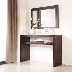 J&M - Jenny Console & Mirror Set - This is Jenny Console and Mirror Set by J&M Furniture. Crafted with the finest wood materials with dark oak and cappuccino glass insert.