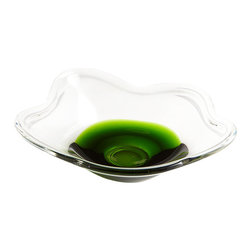 Cyan Design - Emerald Poppy Bowl - Small - Small emerald poppy bowl - clear and green
