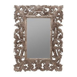 Cooper Classics Tara Wall Mirror - 16.75W x 28.75H in. - The Tara Wall Mirror is a beautiful decorative wall mirror that would look great in a museum, so of course it can add some flair to your home, too. This fascinating rectangular wall mirror provides a stunning focal point with its ornate border. The mango wood frame is coated with a beautiful Silver Crackle finish. The mirror comes ready to hang, with three hole hangers, but it does not include hanging hardware. Weighs 22 lbs. Mirror dimensions: 16.75W x 28.75H inches. Overall dimensions: 35W x 51H inches.About Cooper Classics Cooper Classics was founded over 50 years ago and is currently operated by the third generation of the Cooper family. Their production and warehousing facilities are located in the Blue Ridge Mountains of Virginia, where they produce uniquely styled mirrors and accessory furniture. Because of their extensive background in wood product manufacturing, they excel in the design and production of solid wood mirror frames and furniture. Cooper's commitment to their customers is to provide products with outstanding quality and styling while maintaining a competitive price.