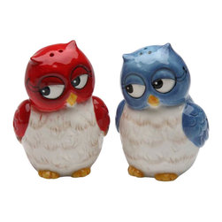 Cosmos - Red and Blue Owls Looking Sideways Couple Salt and Pepper Shakers - This gorgeous Red and Blue Owls Looking Sideways Couple Salt and Pepper Shakers has the finest details and highest quality you will find anywhere! Red and Blue Owls Looking Sideways Couple Salt and Pepper Shakers is truly remarkable.