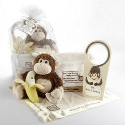 """Baby Aspen - Baby Aspen Five Little Monkeys Keepsake Baby Gift Basket with Optional Personali - Shop for Baby Gifts from Hayneedle.com! Bring the fun and joy of this timeless nursery rhyme to the new baby in your world with the Five Little Monkeys Keepsake Baby Gift Basket. Filled with adorable baby sized toys this gift basket makes a wonderful shower gift or welcome-home-baby gift. A natural-wood keepsake basket is lined with textured white fabric. The front of the basket features a smiling monkey face and part of the featured nursery rhyme. Inside the basket you'll find a yellow banana rattle with a sweet smiling face. A plush brown and tan monkey will become your little one's favorite snuggle buddy. The cream colored """"lovie"""" blanket features a satin trim with the nursery rhyme embroidered along the sides and a monkey face applique in the corners. It's sure to become a child's naptime favorite. Lastly to ensure those naps aren't interrupted this set includes a door hanger with a monkey hugging a pillow reads """"Shhh...Baby's Sleeping."""" These adorable items all arrive to you inside the basket and wrapped in a sheer white organza bag with a satin drawstring around the top. It makes for a beautiful gift presentation. About Aspen BrandsThis adorable item is created by Aspen Brands. The company designs and creates all of their gifts with quality as their top priority. Rest assured that all Aspen Brands baby gifts are safe and lead-free. The company has a rigid testing process in place for lead content in every baby gift they manufacture. Aspen Brands' mission is always has been and always will be to keep our little """"end users"""" safe secure and happy."""