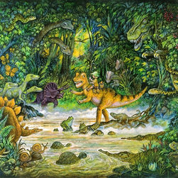 Murals Your Way - Jurassic Jungle Wall Art - Painted by Bill Bell, the Jurassic Jungle wall mural from Murals Your Way will add a distinctive touch to any room