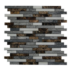 The Bold Interlocking 12X12 Marble Mosaic Polished - Perfect blend of dark and light shades to make the bold look. Mix of Emperador dark, Apollo Gray and White marble.
