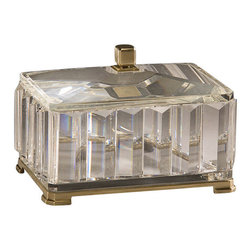 "Inviting Home - Rectangular Solid Crystal Box - rectangular solid crystal box with antique solid brass accents; 9-3/4""W x 7""D x 6""H; Rectangular solid crystal box with solid crystal lid. Crystal box has an antique solid brass base and finial."