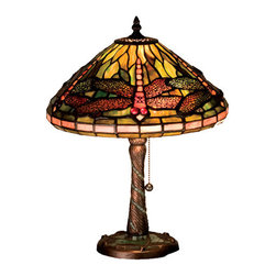 "Meyda Tiffany - 16""H Tiffany Dragonfly W/ Twisted Fly Mosaic Base Accent Lamp - One of Tiffany Studio's most beloved dragonfly design, modeled after the hanging head dragonfly. Diving dragonflies with glowing Scarlet jeweled eyes and delicate metal filigree wings circle over hand cut and copper foiled pieces of Pond Green art glass. A Sunset Sky band circles the bottom of the stained glass shade. A Pond Green glass mosaic inlay spirals down the hand finished Mahogany Bronze base that is accented with a circle of cast metal dragonflies."