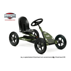 Berg USA - Berg USA Jeep Junior Pedal Go Kart - 24.21.34.00 - Shop for Go Karts from Hayneedle.com! The Berg USA Jeep Junior Riding Toy is definitely going to be your mudder's little helper. This off-road riding toy is built around a sturdy metal frame that rides on knobby all-terrain tires that are air-filled just like the big boys for a comfortable ride that really grabs the road. The adjustable seat works on a simple pin system that lets you get the right fit for your child without sacrificing stability or safety. The BFR hub lets them pedal forward brake and pedal in reverse without their feet ever leaving the pedals. The cloth front bears that real Jeep logo that they'll love until they can get one of their own. This riding toy is recommended for children ages 5 and up. Additional Features BFR (brake forward reverse) hub for easy pedal control Sealed-bearing wheels for effortless rolling on all terrain Attractive color-coordinated seat Compact upright storage Easy assembly with all necessary tools included About Berg USAFounded in 2010 Berg USA is quickly becoming a recognized name in children's riding toys with their innovative designs and attention to safety that don't get in the way of their dedication to providing outdoor exercise for both kids and adults. Berg USA designs and offers a wide variety of high-quality pedal go-karts for home or commercial use ranging in size to comfortably accommodate ages 2 through adult as well as their versatile line of MOOV construction kits. Please note this product does not ship to Pennsylvania.
