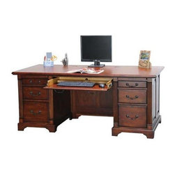 Winners Only - Country Flat Top Desk w Keyboard Drawer - Six drawers. Cherry finish. No assembly required. 72.5 in. W x 35.5 in. D x 31 in. H