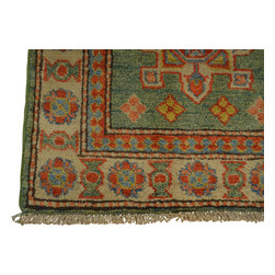 2'x3' 100 Percent Wool Oriental Rug Light Green Kazakh Hand Knotted Sh18538 - Our Tribal & Geometric hand knotted rug collection, consists of classic rugs woven with geometric patterns based on traditional tribal motifs. You will find Kazak rugs and flat-woven Kilims with centuries-old classic Turkish, Persian, Caucasian and Armenian patterns. The collection also includes the antique, finely-woven Serapi Heriz, the Mamluk Afghan, and the traditional village Persian rug.