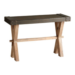 Kathy Kuo Home - Mesa Solid Wood Raw Iron Rustic Console Table - The art of understatement is expressed in this rustic industrial chic console.  Scandinavian minimalism and utility inform the neutral palette of natural finished wood and oxidized iron, while industrial details like riveted ends add interest.