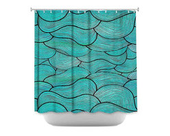 DiaNoche Designs - Shower Curtain - Pom Graphic Sea Waves Pattern - DiaNoche Designs works with artists from around the world to bring unique, artistic products to decorate all aspects of your home.  Our designer Shower Curtains will be the talk of every guest to visit your bathroom!  Our Shower Curtains have Sewn reinforced holes for curtain rings, Shower Curtain Rings Not Included.  Dye Sublimation printing adheres the ink to the material for long life and durability. Machine Wash upon arrival for maximum softness. Made in USA.  Shower Curtain Rings Not Included.
