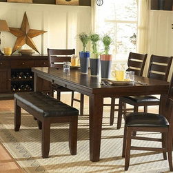 Homelegance - Ameillia 6-Pc Dining Set - Includes table, four side chairs and bench. Buffet sold separately. Substantial tapered legs. Rectangular shape dining table. Butterfly leaf. Made from birch veneer. Dark oak finish. Table minimum: 64 in. L x 42 in. W x 30 in. H. Table maximum: 82 in. L x 42 in. W x 30 in. H. Side chair: 23 in. W x 20 in. D x 40 in. H. Bench: 48 in. L x 16 in. W x 20 in. H