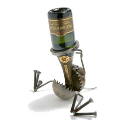 """""""Wine B Gone"""" Wine Bottle Holder - Fun, funky, and always very unique, Fred Conlon's award-winning metal art has appeared in art festivals across the nation. Handmade mostly from recycled material, factory seconds and stuff found in the scrap yard, each piece is unique and one of a kind."""