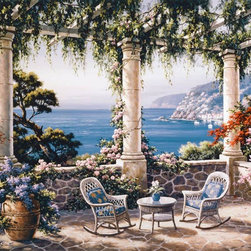 Murals Your Way - Mediterranean Terrace Wall Art - For the romantic this wall mural provides all the elements