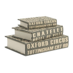 """IMAX - Central Line Book Boxes - Set of 3 - The set of three Central Line book boxes feature bold typography reminiscent of street signage in a steel blue shade. Item Dimensions: (1.75-2.25-2.75""""h x 8-10.5-12.5""""w x 5.25-7-9"""")"""